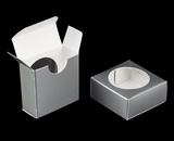 "3493 - 2 1/4"" x 2 1/4"" x 1"" Silver/White Favor Box with Window"