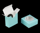 "3494 - 2 1/4"" x 2 1/4"" x 1"" Diamond Blue/White Favor Box with Window"