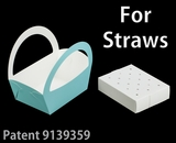 "3501x3464 - 8 1/2"" x 6 1/4"" x 9 1/2"" Diamond Blue/White Basket Box and Tray Set for Paper Straws, 50 COUNT"