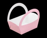 "3502 - 8 1/2"" x 6 1/4"" x 9 1/2"" Light Pink/White Basket Box, 50 PACK"