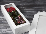 "3512 - 20"" x 7"" x 4"" Wine & Roses Box with Window, One Piece Lock & Tab Box With Lid"