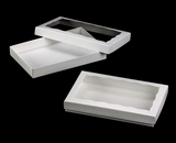 "3519x3515 - 9 1/2"" x 6"" x 1 1/4"" White/White Two Piece Simplex Cookie Box Set, with Window"