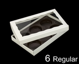 "3519x3515x3440 - 9 1/2"" x 6"" x 1 1/4"" White/White Two Piece Simplex Box with Window, and 6 Cavity Tray Set"