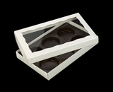 "3519x3515x3440 - 9 1/2"" x 6"" x 1 1/4"" White/White Two Piece Simplex Box with Window, and 6 Cavity Tray Set. C09xC06xD03"