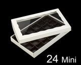 "3519x3515x3443 - 9 1/2"" x 6"" x 1 1/4"" White/White Two Piece Simplex Box with Window, and 24 Cavity Tray Set"