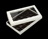 "3519x3515x3443 - 9 1/2"" x 6"" x 1 1/4"" White/White Two Piece Simplex Box with Window, and 24 Cavity Tray Set. C09xC06xD03"