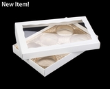 "3519x3515x3857 - 9 1/2"" x 6"" x 1 1/4"" White/White Two Piece Simplex Box with Window, and 6 Cavity Tray Set"