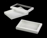 "3522x3521 - 10"" x 7"" x 1 1/4"" White/White Two Piece Simplex Box Set, with Window. C11xC07"