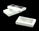 "3523x3518 - 7"" x 4 3/8"" x 1 1/4"" White/White Two Piece Simplex Cookie Box Set, with Window"