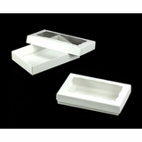 "3523x3518 - 7"" x 4 3/8"" x 1 1/4"" White/White Two Piece Simplex Box Set, with Window"