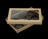 "3529x3514x3440 - 9 1/2"" x 6"" x 1 1/4"" Brown/Brown Two Piece Simplex Box with Window, and 6 Cavity Tray Set. C08xC05xD03"