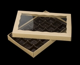 "3529x3514x3443 - 9 1/2"" x 6"" x 1 1/4"" Brown/Brown Two Piece Simplex Box with Window, and 24 Cavity Tray Set. C08xC05xD03"