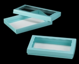 "3530x3536 - 9 1/2"" x 6"" x 1 1/4"" Diamond Blue/White Two Piece Simplex Cookie Box Set, with Window"