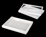 "3538x3539 - 14"" x 10"" x 1 1/4"" White/White Two Piece Simplex Cookie Box Set, with Poly Window"