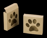"3541 - 4 3/8"" x 4 3/8"" x 1"" Brown/Brown Cookie Box with Puppy Paw Window, Reverse Tuck"