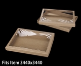 "3548x3532 - 12 1/2"" x 9 3/4"" x 1 1/4"" Brown/Brown Two Piece Simplex Cookie Box Set, with Poly Window"