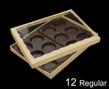 "3548x3532x3440x3440 - 12 1/2"" x 9 3/4"" x 1 1/4"" Brown/Brown Two Piece Simplex Box with Poly Window, and 12 Cavity Tray Set"
