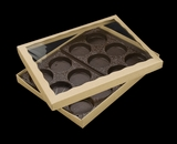 "3548x3532x3440x3440 - 12 1/2"" x 9 3/4"" x 1 1/4"" Brown/Brown Two Piece Simplex Box with Poly Window, and 12 Cavity Tray Set. A15xA07xD03xD03"