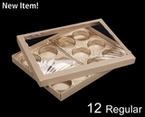 "3548x3532x3857x3857 - 12 1/2"" x 9 3/4"" x 1 1/4"" Brown/Brown Two Piece Simplex Box with Poly Window, and 12 Cavity Tray Set"