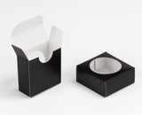 "3550 - 2 1/4"" x 2 1/4"" x 1"" Black/White Favor Box with Window"