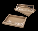 "3551x3552 - 14"" x 10"" x 1 1/4"" Brown/Brown Two Piece Simplex Box Set, with Poly Window"