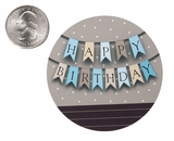 "3557 - 2 1/2"" Happy Birthday Banner Blue Favor Label, 50 Count. F01"