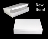 "3571 - 19"" x 14"" x 4"" White/White Lock & Tab Half Sheet Cake Box without Window"