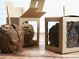 """3573 - 4"""" x 4"""" x 4 5/8"""" Candy Apple Box Brown/Brown with Window, Snap Lock Bottom"""