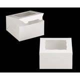 "3577 - 7"" x 7"" x 4"" White/White Lock & Tab Box with Window"