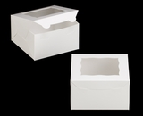 "3577 - 7"" x 7"" x 4"" White/White with Window, Lock & Tab Box with Lid. A11"