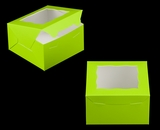"3578 - 7"" x 7"" x 4"" Lime Green/White with Window, Lock & Tab Box with Lid. A18"