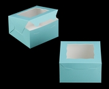 "3579 - 7"" x 7"" x 4"" Diamond Blue/White with Window, Lock & Tab Box With Lid. A17"
