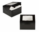 "3580 - 7"" x 7"" x 4"" Black/White Lock & Tab Box with Window"