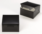 "3581 - 7"" x 7"" x 4"" Black/White without Window, Lock & Tab Box with Lid. A19"