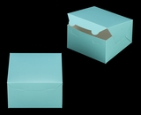 "3582 - 7"" x 7"" x 4"" Diamond Blue/White without Window, Lock & Tab Box With Lid. A18"