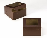"3583 - 7"" x 7"" x 4"" Chocolate/Brown Lock & Tab Box with Window"