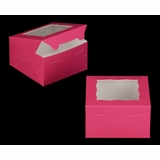 "3585 - 7"" x 7"" x 4"" Pink/White Lock & Tab Box with Window"