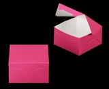 "3586 - 7"" x 7"" x 4"" Pink/White without Window, Lock & Tab Box With Lid"