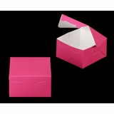 "3586 - 7"" x 7"" x 4"" Pink/White Lock & Tab Box without Window"