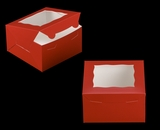"3587 - 7"" x 7"" x 4"" Red/White with Window, Lock & Tab Box With Lid. A17"