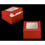 "3587 - 7"" x 7"" x 4"" Red/White Lock & Tab Box with Window"