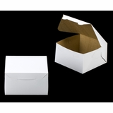 "3588 - 7"" x 7"" x 4"" White/Brown without Window, Lock & Tab Box With Lid"