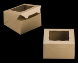 "3589 - 7"" x 7"" x 4"" Brown/Brown Lock & Tab Box with Window"