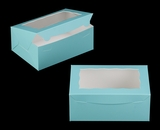 "3592 - 10"" x 7"" x 4"" Diamond Blue/White Lock & Tab Box with Window"