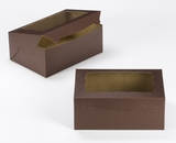 "3596 - 10"" x 7"" x 4"" Chocolate/Brown Lock & Tab Box with Window"