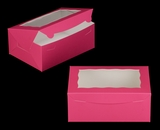 "3597 - 10"" x 7"" x 4"" Pink/White Lock & Tab Box with Window"