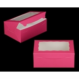 "3597 - 10"" x 7"" x 4"" Pink/White with Window, Lock & Tab Box With Lid"