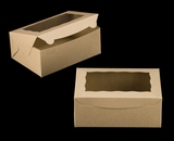 "3600 - 10"" x 7"" x 4"" Brown/Brown with Window, Lock & Tab Box With Lid. A19"
