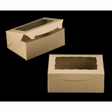 "3600 - 10"" x 7"" x 4"" Brown/Brown with Window, Lock & Tab Box With Lid"