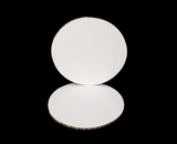 3643 - 5 inch White Cake Round, Coated Corrugated Single Wall Cake Board. C02